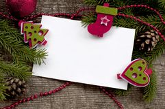 Christmas background with white paper and snow Royalty Free Stock Image