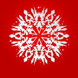 Christmas background with white paper snowflake Royalty Free Stock Photo