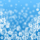 Christmas background. White snowflakes on a blue background.christmas background Stock Photos
