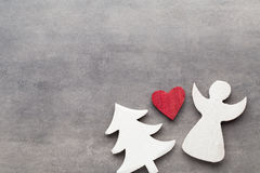 Christmas background. White tree decorations on a gray backgroun Royalty Free Stock Photography