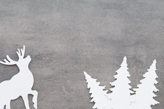 Christmas background. White tree decorations on a gray backgroun Royalty Free Stock Images