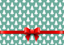 Christmas background with white tree and red bow. Stock Photo