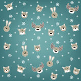 Christmas background with wild animals Royalty Free Stock Images