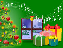 Christmas background in window. And gift Stock Photography