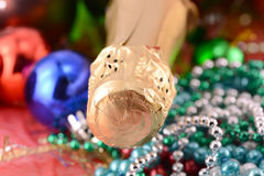 Christmas background with wine bottle and pearls Royalty Free Stock Image