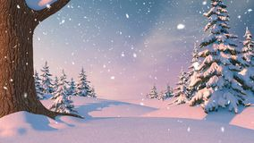 Christmas Background, Winter Forest. Beautiful 3d animation, seamless looping, 4K