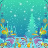 Christmas background, winter forest Stock Image