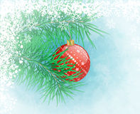 Christmas background. Winter frozen background with red christmas ball Royalty Free Stock Photo