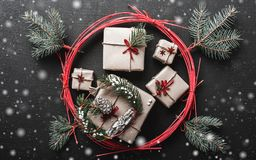Christmas background for winter holidays with Xmas gifts engraved by the red circle of love. Christmas background for winter holidays with Xmas gifts engraved Stock Images