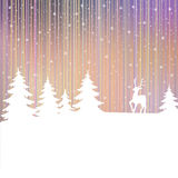 Christmas background. Winter landscape with deer. White fairy forest. Stock Image