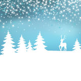 Christmas background. Winter landscape with deer. White fairy forest. Stock Images