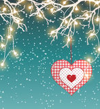 Christmas background, winter landscape with electric decorative lights and red heart in scandinavian style, illustration Royalty Free Stock Photography