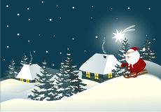 Christmas background with winter landscape Stock Images