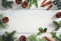 Free Christmas Background With Christmas Decorations On Wooden White Royalty Free Stock Photos - 103605448