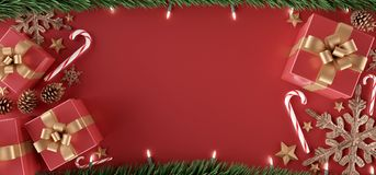 Free Christmas Background With Christmas Gifts Decoration - 3d Rendering Stock Photography - 160827962