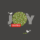 Christmas Background With Cute Birds And The Joy Of Christmas Slogan Stock Photo