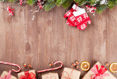 Free Christmas Background With Fir Tree And Gift Boxes Stock Photos - 60767413