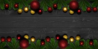 Free Christmas Background With Fir Tree Branches And Xmas Ornament Bauble On Dark Wooden Board. Holiday Christmas Composition Royalty Free Stock Photo - 161071355