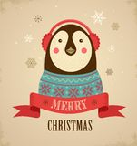Christmas Background With Hipster Penguin Royalty Free Stock Photography