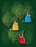 Christmas Background With Kitten Ornaments Stock Photos