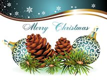 Christmas Background With Pinecone And Balls Stock Photo
