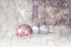 Christmas Background With Present Box And Balls Royalty Free Stock Photography