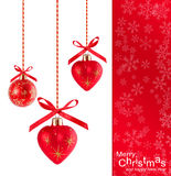 Christmas Background With Red Balloons Stock Image