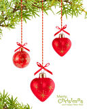 Christmas Background With Red Heart-shaped Royalty Free Stock Image