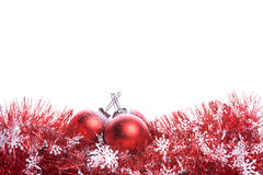 Christmas Background With Red Ribbon And Balls Stock Image