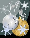 Christmas Background With Silver And Gold Ball And Snowflakes Stock Photography