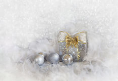 Christmas Background With Snowflakes And Silver Balls Royalty Free Stock Photography