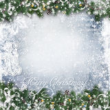 Christmas Background With Tree Branches, Snow And Angel