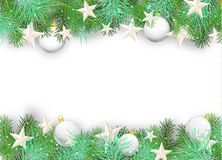 Christmas Background With White Ornaments And Branches Royalty Free Stock Photos