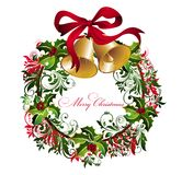 Christmas Background With Wreath Royalty Free Stock Images
