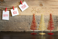 Christmas background withdecorations tree on wood background Royalty Free Stock Photo