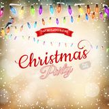 Christmas background withgarland. EPS 10. Gold Christmas background with luminous garland. EPS 10 vector file included Stock Images