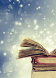 Christmas background withopen magical book Royalty Free Stock Photo