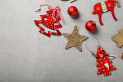 Christmas background with wood decorations Royalty Free Stock Images