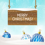 Christmas background with wood signboard Stock Photo