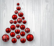 Christmas background. Christmas wooden background with balls. Vector paper illustration stock illustration