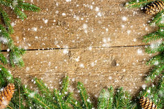 Christmas background on wooden boards Stock Photo
