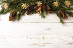 Christmas background wooden jingle bell Royalty Free Stock Photos
