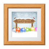 Christmas background. With Wooden Plaque, Bullfinches and Bauble in Wooden Frame. Vector Template for Cover, Flyer, Brochure royalty free illustration