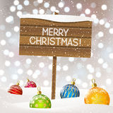 Christmas background with wooden plate Stock Images