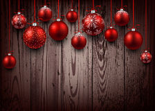 Christmas background. Christmas wooden background with red balls. Vector illustration Royalty Free Stock Image