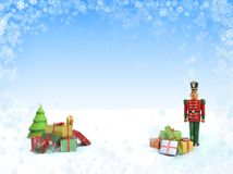Christmas background with wooden soldier toy and gifts. 3D Illustration for greeting card or flyer with place for your text Royalty Free Stock Image