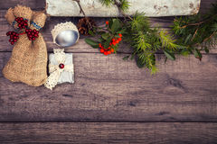 Christmas background on wooden table and copy space Royalty Free Stock Photo
