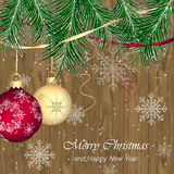 Christmas background, wooden texture with needles, baubles, snowflakes and ribbons. Happy New Year  greeting card Stock Photo
