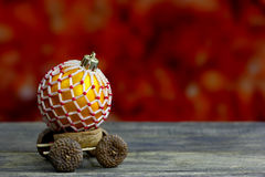 Christmas background with wooden truck and balls decorated glass beads Stock Photography