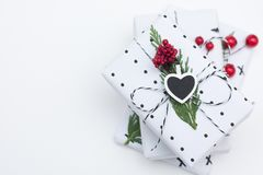 Christmas background. With wrapped gifts and decoration Royalty Free Stock Photo